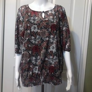 Maurices 1 Floral top w/ attached cami ruched hem